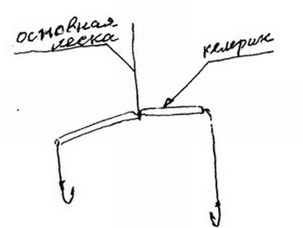 Поплавочная удочка с двумя крючками