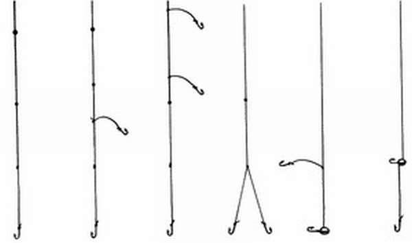 Как привязать крючки к леске