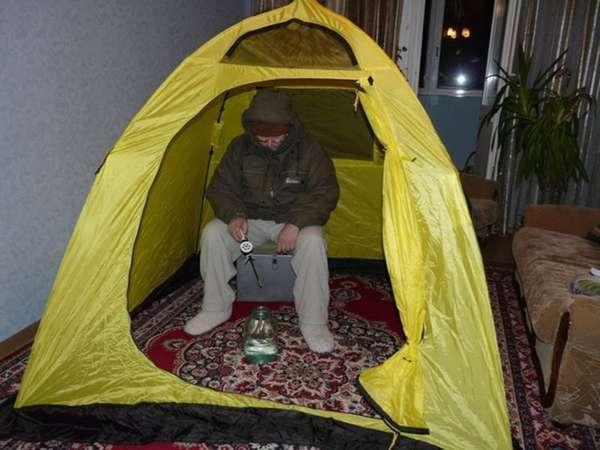 Зимняя палатка для рыбалки своими руками на санках